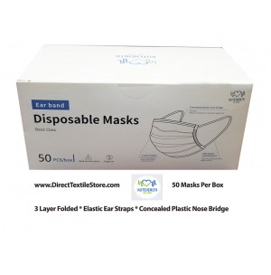 Disposable Face Masks with Elastic Earloops