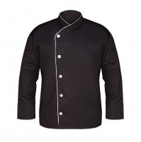 Black Executive Chef Coat with White Piping