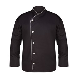 Black Executive Chef Coat, w/White Piping