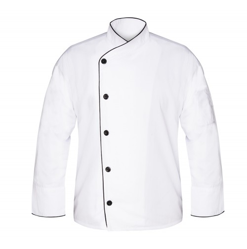 White Executive Chef Coat, w/Black Piping