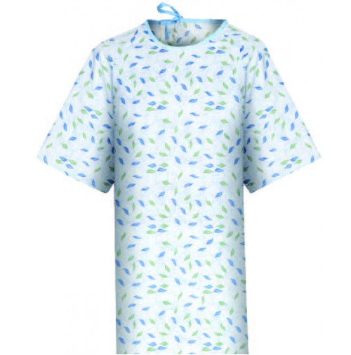 Patient Gown Blue New Leaf Print