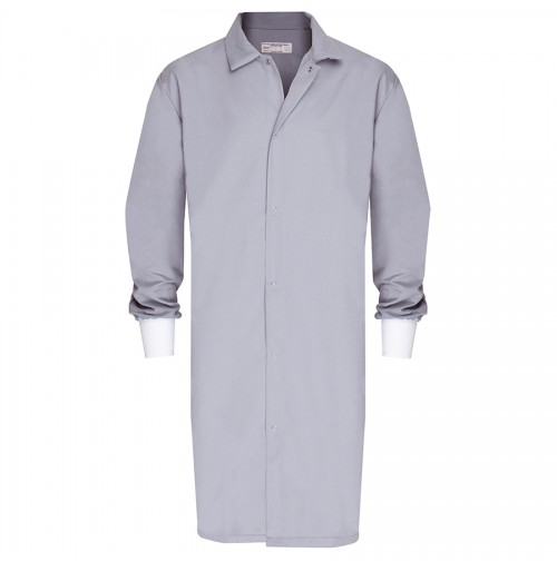 HACCP Butcher Frock, No Pocket, Knit Cuff, Light Gray