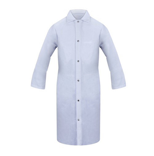 Lab Coat, No Pocket, Snap Front, White