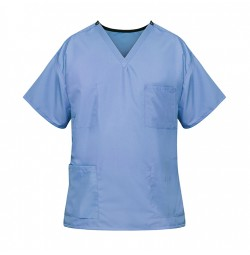 Unisex Reversible Scrub Top, Ceil Blue