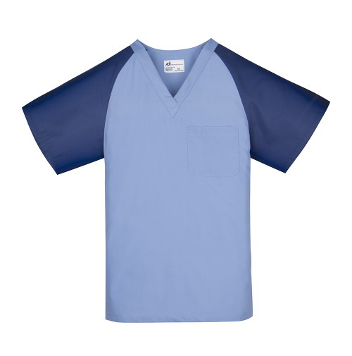Unisex Scrub Top, Ceil w/Navy Sleeves
