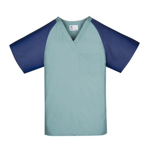 Unisex Scrub Top, Misty Green w/Navy Sleeves