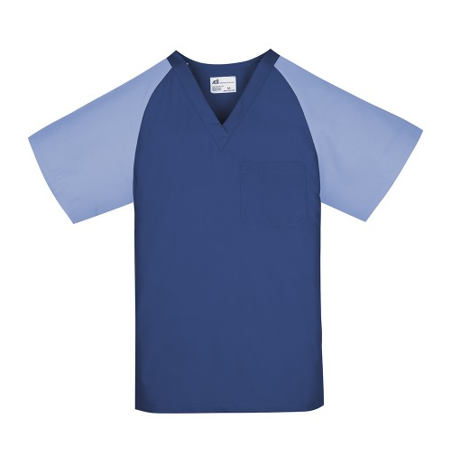 Unisex Scrub Top, Navy w/Ceil Blue Sleeves