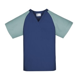 Unisex Scrub Top, Navy w/Misty Green Sleeves