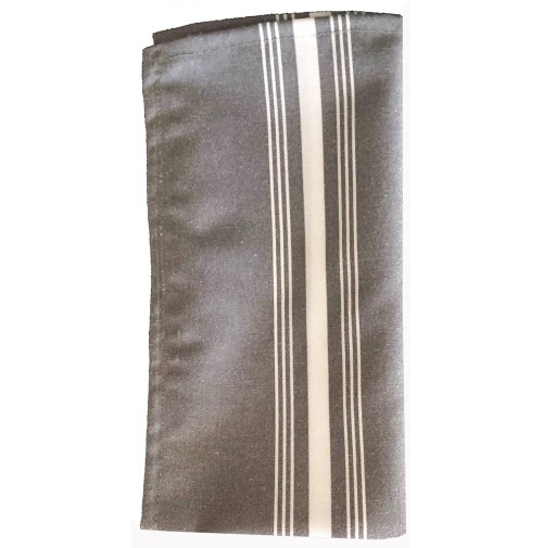 Black Stripe Chambray Bistro Napkins