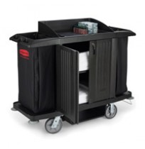 RUBBERMAID® HOUSEKEEPING CARTS, Black Compact cart with doors 60x22x50
