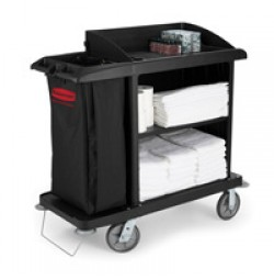 RUBBERMAID® HOUSEKEEPING CARTS, Black Compact cart without doors 49x22x50