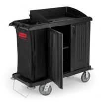 RUBBERMAID® HOUSEKEEPING CARTS, Black Compact cart with doors 49x22x50