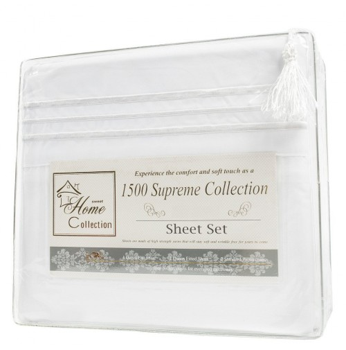 White Microfiber Bed Sheet Set, Clara Clark® Supreme 1500 Collection