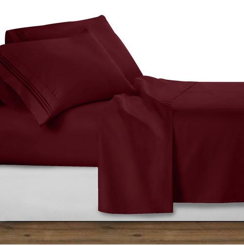 Burgundy Deluxe Microfiber Bed Sheet Set, Clara Clark® Premier 1800 Collection
