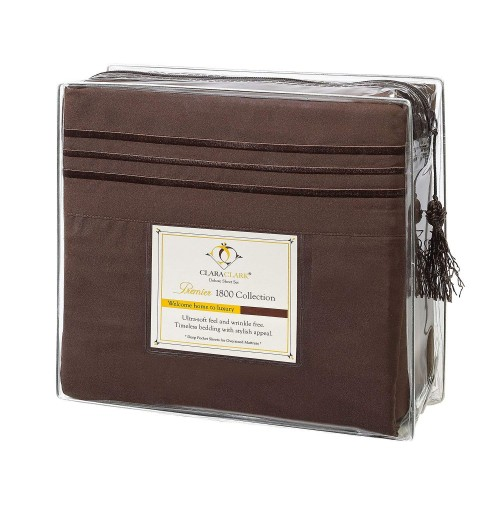 Chocolate Deluxe Microfiber Bed Sheet Set, Clara Clark® Premier 1800 Collection