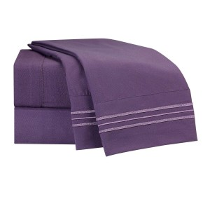 Eggplant Deluxe Microfiber Bed Sheet Set, Clara Clark® Premier 1800 Collection