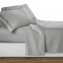 Silver Deluxe Microfiber Bed Sheet Set, Clara Clark® Premier 1800 Collection