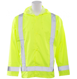 S373 Attached Hood Rain Jacket (Class 3)