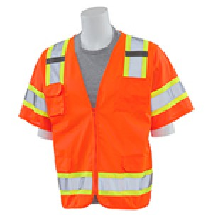 S680 Solid Front Mesh Back Surveyor Safety Vest (Class 3)