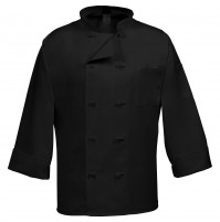 Fame C10F Black French Knot Chef Coat