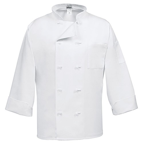 Fame C10F White French Knot Chef Coat