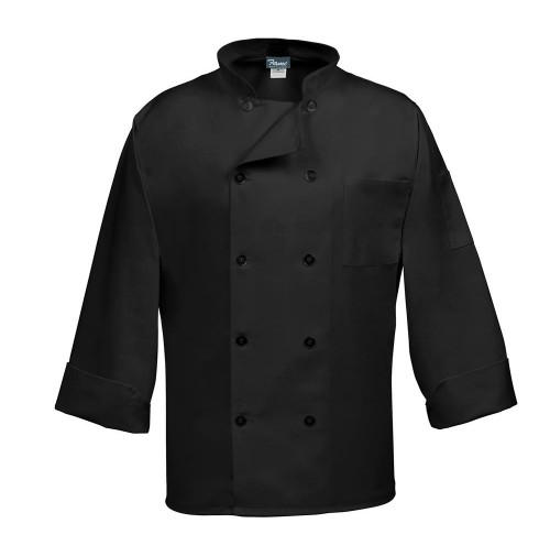 10 Button Classic Black Chef Coat, LS, Fame C10P