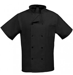 10 Button Classic Black Chef Coat, SS. Fame C10PS