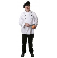 12 Button Executive Chef Coat w/Black Piping