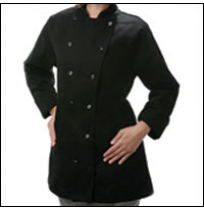 Womens Fitted Chef Coat L/S, Black