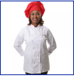 Womens Fitted Chef Coat L/S, White