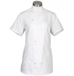 Womens Fitted Chef Coat S/S, White