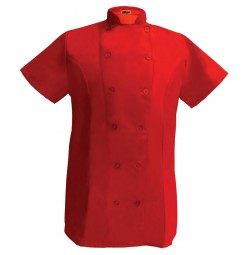 Womens Fitted Chef Coat S/S, Red