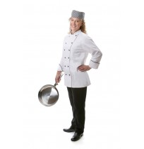 Womens Fitted Chef Coat Black Piping