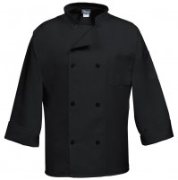 8 Button Classic Black Chef Coat, Fame C8P