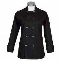 Fame C100P Women's Black Chef Coat with Side Vents
