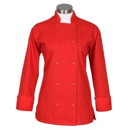 Fame C100P Women's Red Chef Coat with Side Vents