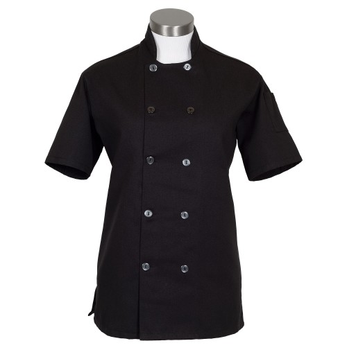 Fame C100PS Women's Black Chef Coat SS with Side Vents