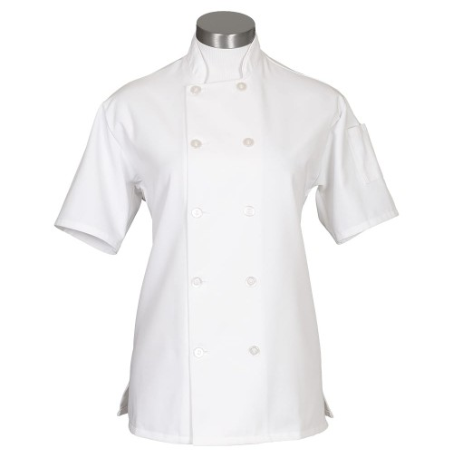 Fame C100PS Women's White Chef Coat SS with Side Vents