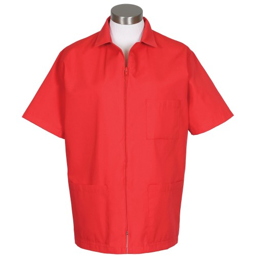 Zipper Front Smock, Red