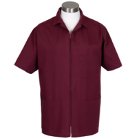 Zipper Front Smock, Burgundy