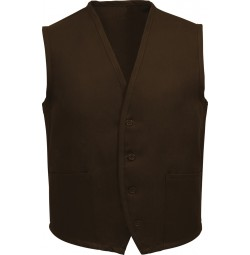 Unisex Uniform Vest, 2 Pocket, Brown