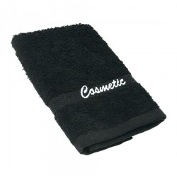 Black Washcloth with Cosmetic Logo