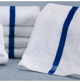 Blue Center Stripe Towels, 16s Premium
