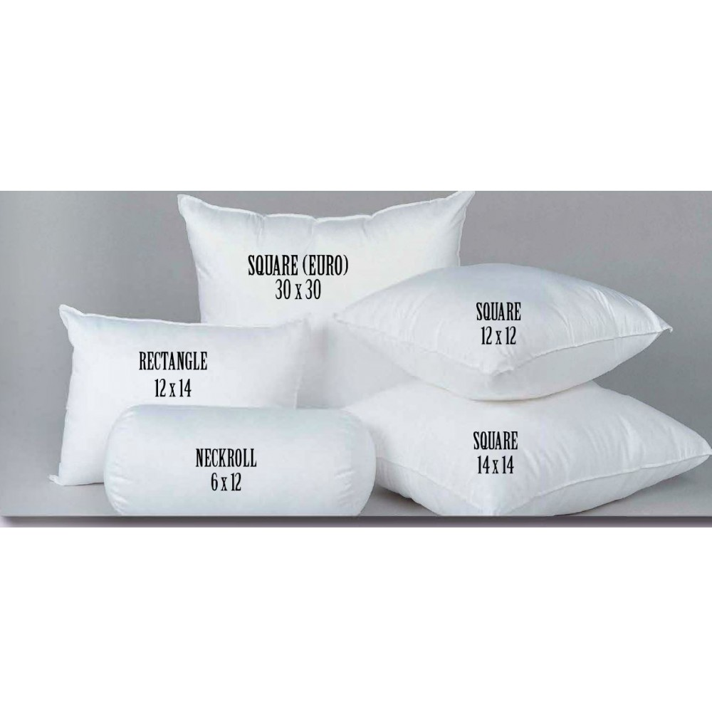 """NEW 12/"""" X 12/"""" WHITE POLYESTER PILLOW FORM INSERT"""