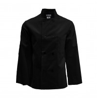 C108BK Pinnacle Black Chef Coat, 8 Buttons