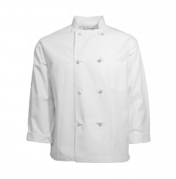 C128WH Pinnacle White Chef Coat, 8 Knot Buttons
