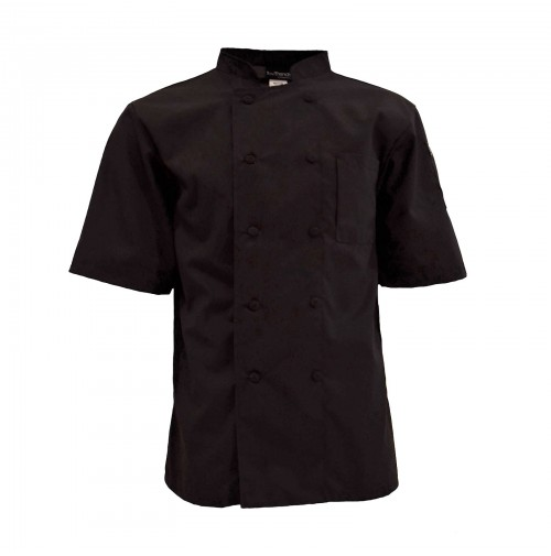 C301BK Pinnacle Mesh Back Black Chef Coat