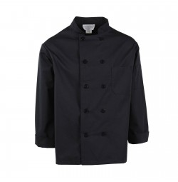 C310BK Pinnacle Black Chef Coat, 10 Buttons