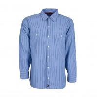 S10GM Men's Industrial Work Shirt, Blue/Light Blue Stripe