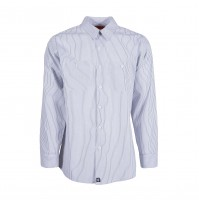 S10WCG Men's Industrial Work Shirt, White/Charcoal Gray Stripe